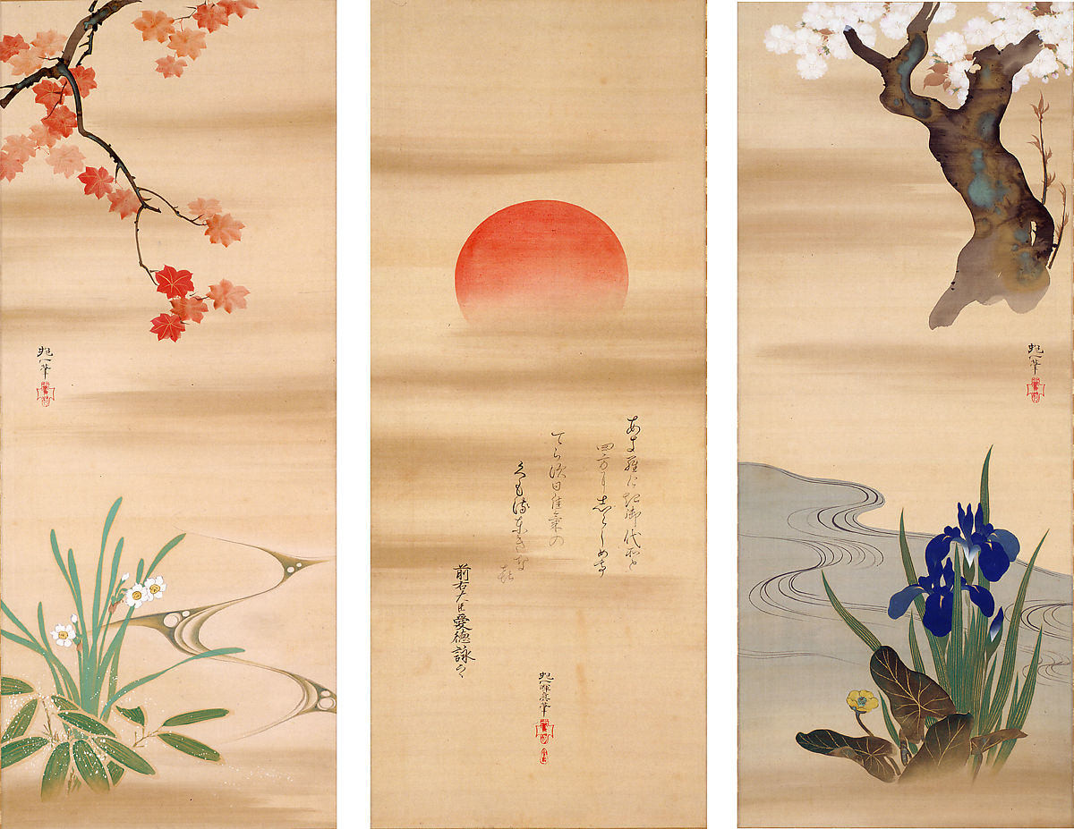 Sakai Hōitsu | The Rising Sun with Flowers and Trees of the Four ...