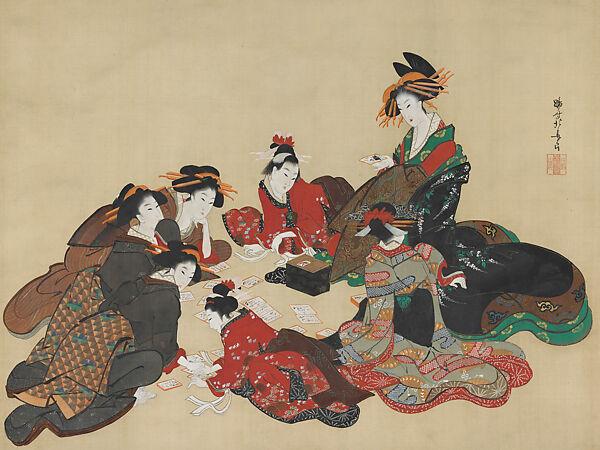Teisai Hokuba | Women Playing a Poetry-matching Card Game | Japan | Edo period (1615–1868) | The Met