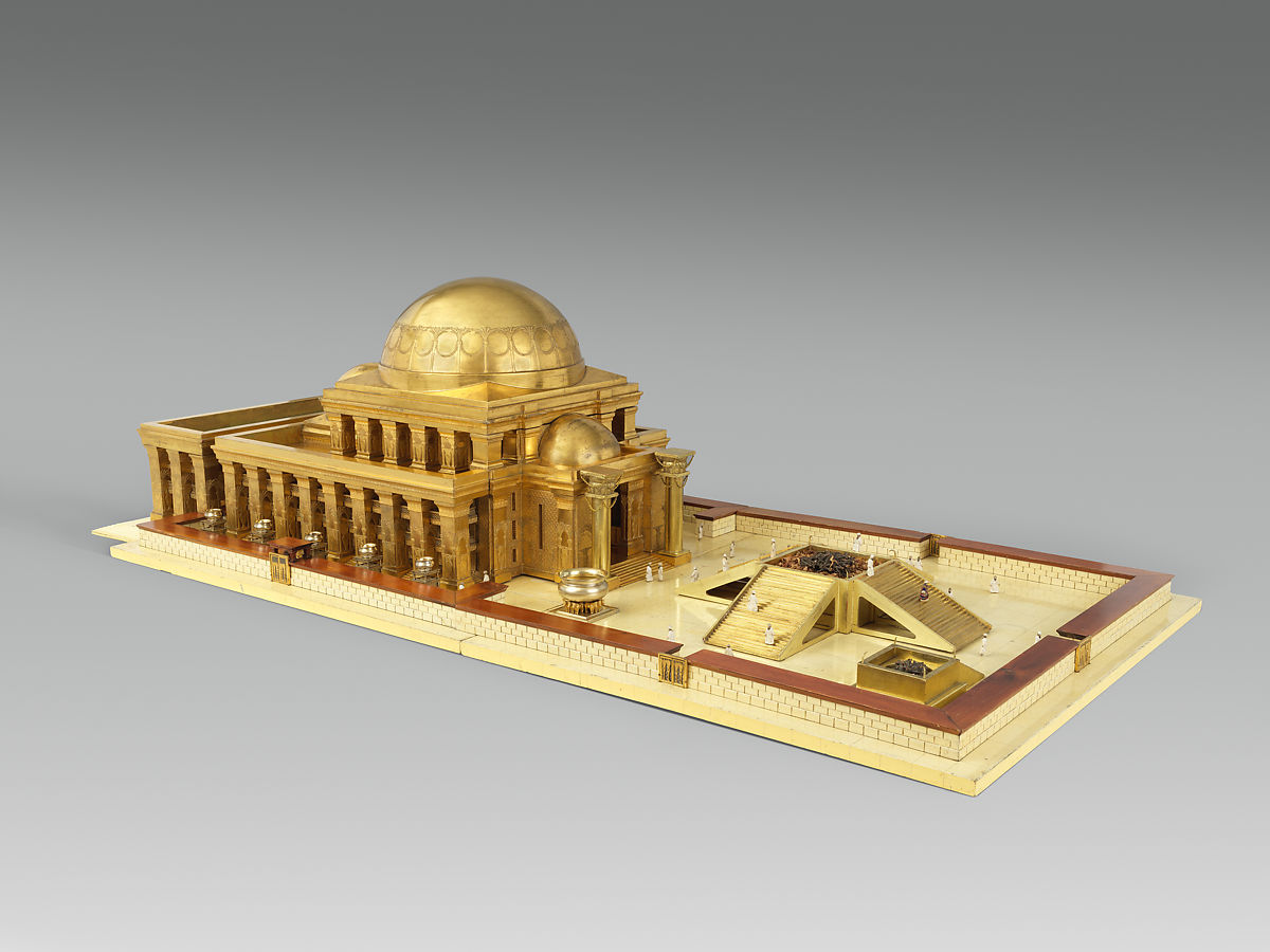 Architectural model of the temple of King Solomon in Jerusalem, After a design by Thomas Newberry, Gilded wood, gilded carton pierre; gilded silver, gilded bronze; enamel, linen, British, London