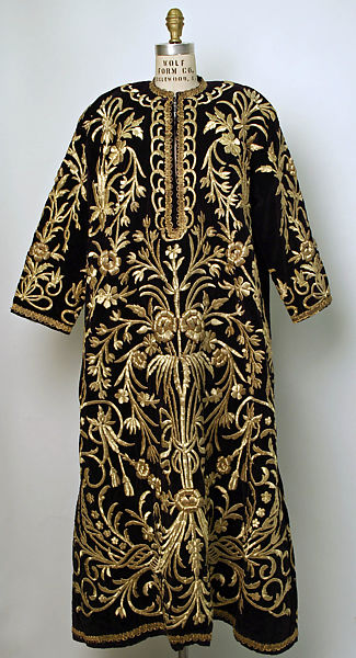 Robe, Velvet, metal wrapped thread; embroidered