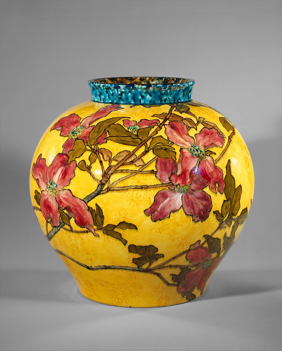 Vase, John Bennett (1840–1907), Painted and glazed earthenware, American