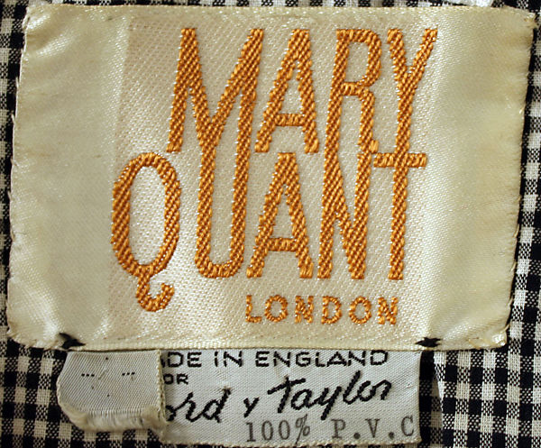 Mary Quant London - Made in England for Lord & Taylor 100% PVC label at the Costume Institute